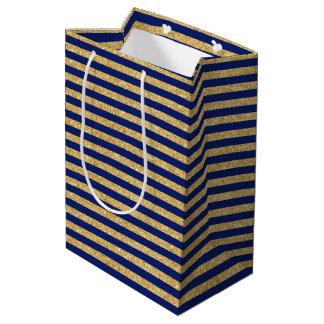 Elegant Faux Gold Glitter and Blue Stripe Pattern Medium Gift Bag