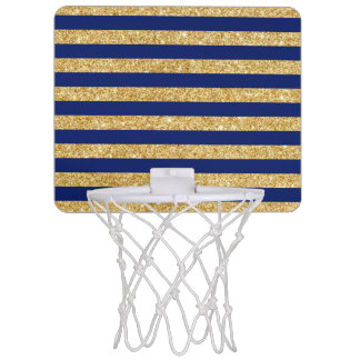 Elegant Faux Gold Glitter and Blue Stripe Pattern Mini Basketball Hoop