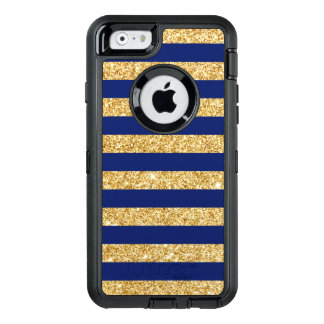 Elegant Faux Gold Glitter and Blue Stripe Pattern OtterBox Defender iPhone Case