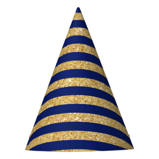 Elegant Faux Gold Glitter and Blue Stripe Pattern Party Hat