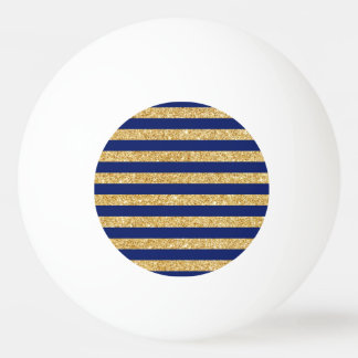 Elegant Faux Gold Glitter and Blue Stripe Pattern Ping Pong Ball
