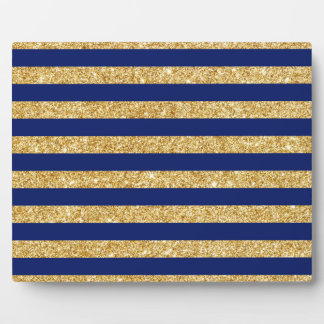 Elegant Faux Gold Glitter and Blue Stripe Pattern Plaque