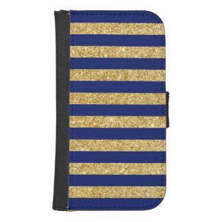 Elegant Faux Gold Glitter and Blue Stripe Pattern Samsung S4 Wallet Case