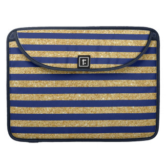Elegant Faux Gold Glitter and Blue Stripe Pattern Sleeve For MacBook Pro