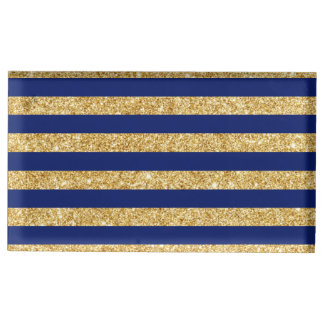 Elegant Faux Gold Glitter and Blue Stripe Pattern Table Card Holder