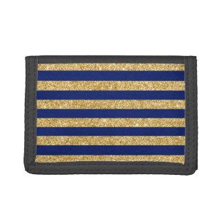 Elegant Faux Gold Glitter and Blue Stripe Pattern Tri-fold Wallets