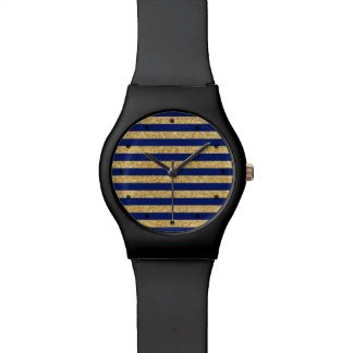 Elegant Faux Gold Glitter and Blue Stripe Pattern Watch