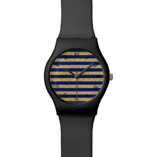 Elegant Faux Gold Glitter and Blue Stripe Pattern Watch