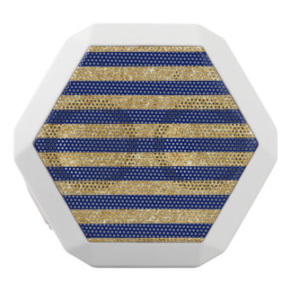 Elegant Faux Gold Glitter and Blue Stripe Pattern White Bluetooth Speaker