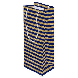 Elegant Faux Gold Glitter and Blue Stripe Pattern Wine Gift Bag