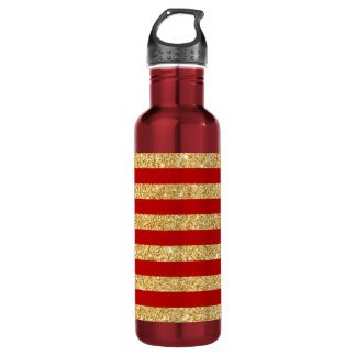 Elegant Faux Gold Glitter and Red Stripe Pattern 710 Ml Water Bottle