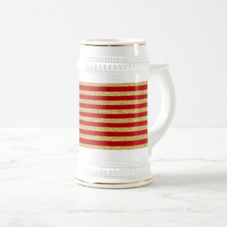 Elegant Faux Gold Glitter and Red Stripe Pattern Beer Stein