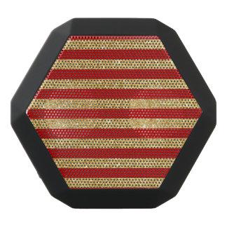 Elegant Faux Gold Glitter and Red Stripe Pattern Black Bluetooth Speaker