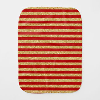 Elegant Faux Gold Glitter and Red Stripe Pattern Burp Cloth
