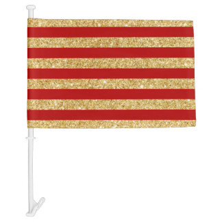 Elegant Faux Gold Glitter and Red Stripe Pattern Car Flag