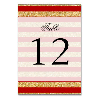 Elegant Faux Gold Glitter and Red Stripe Pattern Card