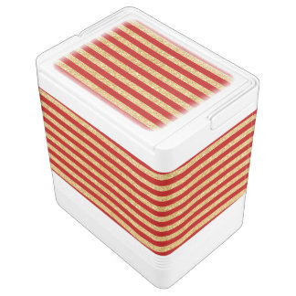 Elegant Faux Gold Glitter and Red Stripe Pattern Cooler