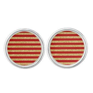 Elegant Faux Gold Glitter and Red Stripe Pattern Cufflinks
