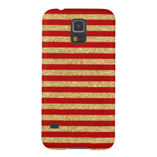 Elegant Faux Gold Glitter and Red Stripe Pattern Galaxy S5 Case