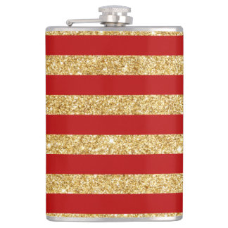 Elegant Faux Gold Glitter and Red Stripe Pattern Hip Flask