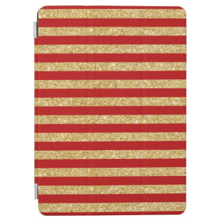 Elegant Faux Gold Glitter and Red Stripe Pattern iPad Air Cover