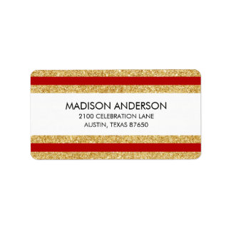 Elegant Faux Gold Glitter and Red Stripe Pattern Label