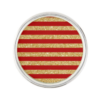 Elegant Faux Gold Glitter and Red Stripe Pattern Lapel Pin