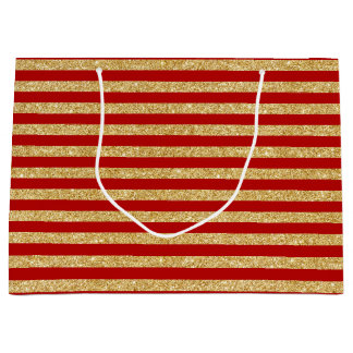 Elegant Faux Gold Glitter and Red Stripe Pattern Large Gift Bag