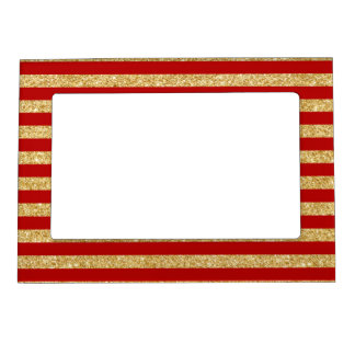 Elegant Faux Gold Glitter and Red Stripe Pattern Magnetic Picture Frame