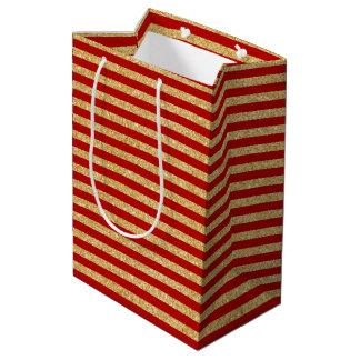 Elegant Faux Gold Glitter and Red Stripe Pattern Medium Gift Bag