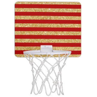 Elegant Faux Gold Glitter and Red Stripe Pattern Mini Basketball Hoop