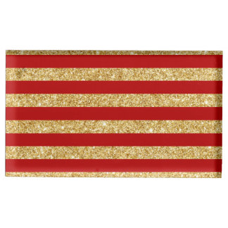 Elegant Faux Gold Glitter and Red Stripe Pattern Place Card Holder