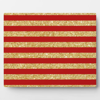 Elegant Faux Gold Glitter and Red Stripe Pattern Plaque