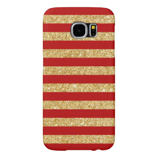 Elegant Faux Gold Glitter and Red Stripe Pattern Samsung Galaxy S6 Cases