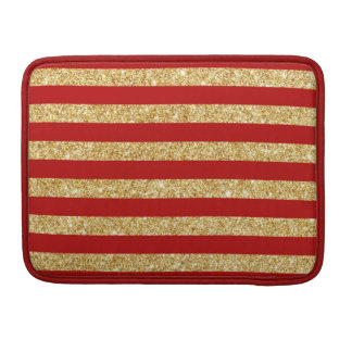 Elegant Faux Gold Glitter and Red Stripe Pattern Sleeve For MacBooks