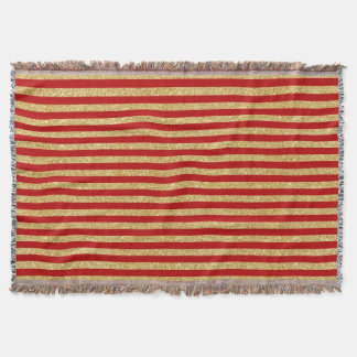 Elegant Faux Gold Glitter and Red Stripe Pattern Throw Blanket