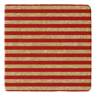 Elegant Faux Gold Glitter and Red Stripe Pattern Trivet
