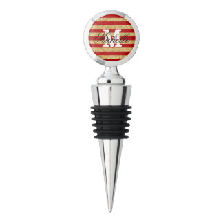 Elegant Faux Gold Glitter and Red Stripe Pattern Wine Stopper