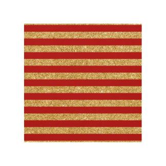 Elegant Faux Gold Glitter and Red Stripe Pattern Wood Print