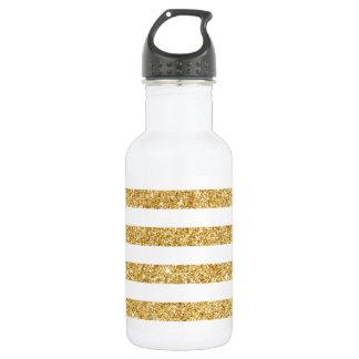 Elegant Faux Gold Glitter and White Stripe Pattern 532 Ml Water Bottle