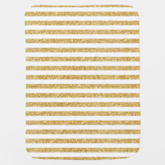 Elegant Faux Gold Glitter and White Stripe Pattern Baby Blanket