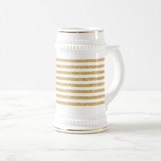 Elegant Faux Gold Glitter and White Stripe Pattern Beer Stein