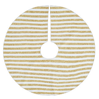 Elegant Faux Gold Glitter and White Stripe Pattern Brushed Polyester Tree Skirt