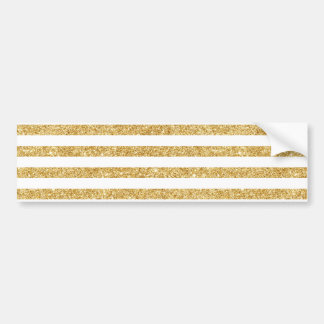 Elegant Faux Gold Glitter and White Stripe Pattern Bumper Sticker