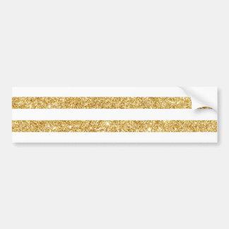 Elegant Faux Gold Glitter and White Stripe Pattern Bumper Sticker
