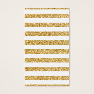 Elegant Faux Gold Glitter and White Stripe Pattern Business Card