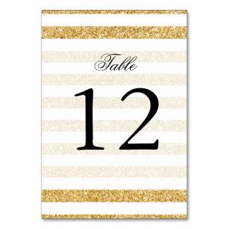 Elegant Faux Gold Glitter and White Stripe Pattern Card