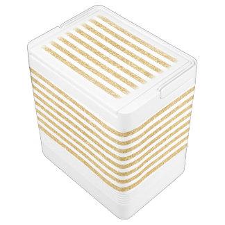 Elegant Faux Gold Glitter and White Stripe Pattern Cooler