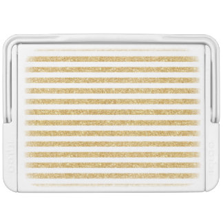 Elegant Faux Gold Glitter and White Stripe Pattern Cooler