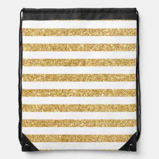 Elegant Faux Gold Glitter and White Stripe Pattern Drawstring Bag